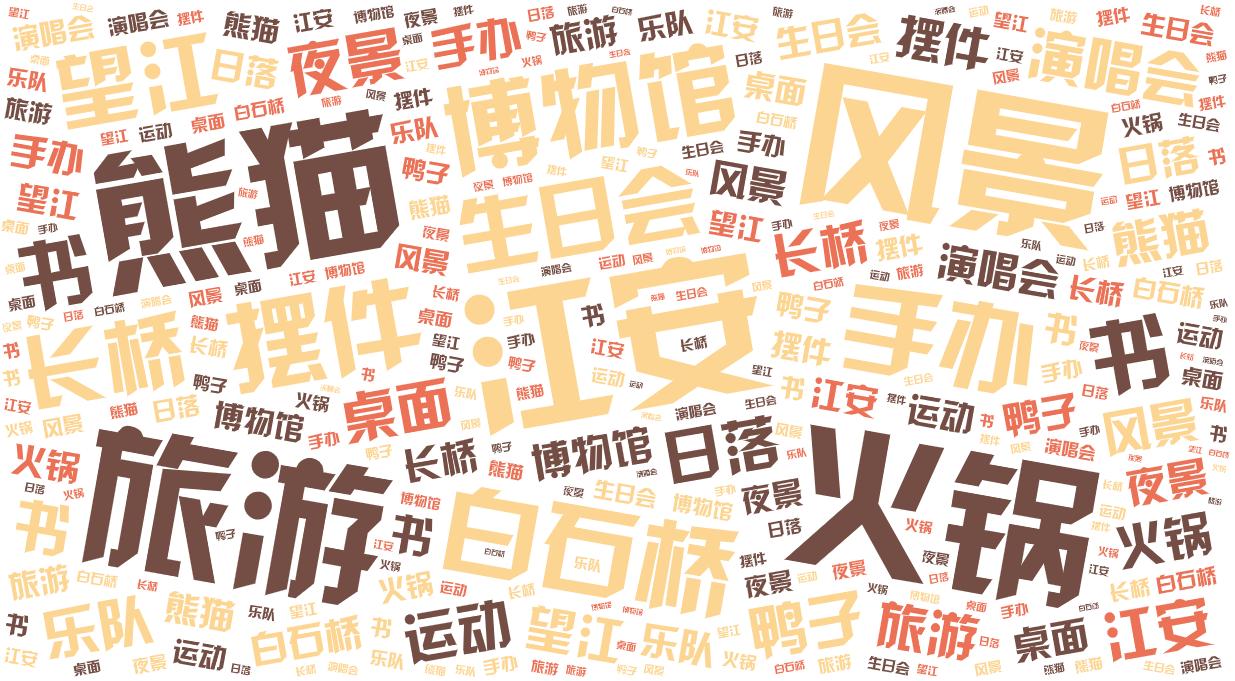 词云图,文字云图,江安 风景 旅游 熊猫 火锅 博物馆 手办 白石桥 摆件 生日会